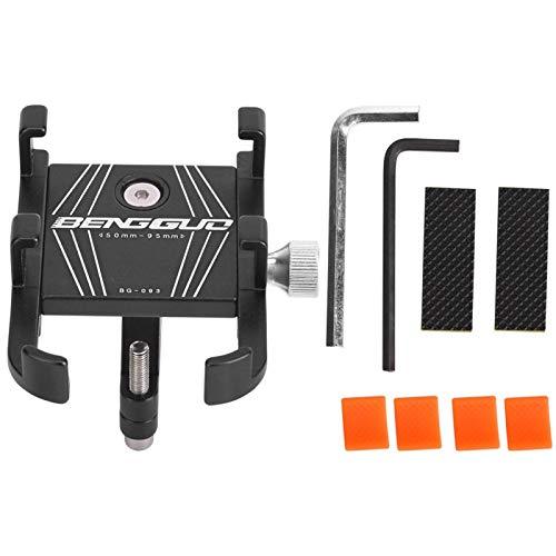 SALUTUYA Soporte de rotación para teléfono de Bicicleta Soporte de GPS para Bicicleta Aleación de Aluminio, Apto para la mayoría de teléfonos, GPS, para Bicicleta, Scooter, Motocicleta(Black)