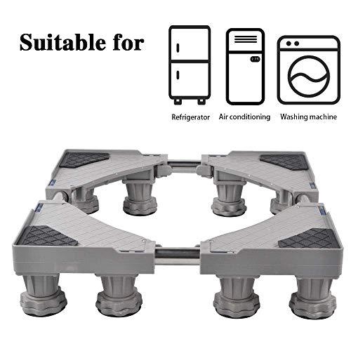 SMONTER Waschmaschine verschiebbar Sockel, Podeste & Rahmen für Kühlschrank, Multifunktionaler beweglicher verstellbare Stand für Trockner, 8Füße, Grau