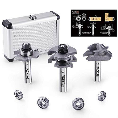 Tacklife RB31C Oberfräser-Bit-Set, Nut- und Federfräser-Bits & Lock Gehrungsfräser mit 45 Grad, 4 Stück Kugellagerset, professionelle Wahl für Heimwerker