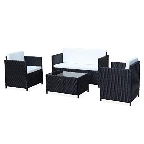 Muebles de jardín, Conjunto sofá de Exterior, Negro Crudo, 4 plazas, Rattan sintético, Resina Trenzada - Perugia