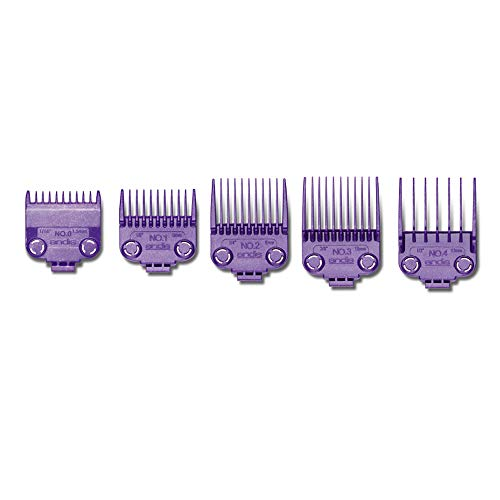 Andis 040 Master Dual Magnet Small 5-Comb Set Designed for MBA, MC-2, ML, PM- And PM-4, Purple