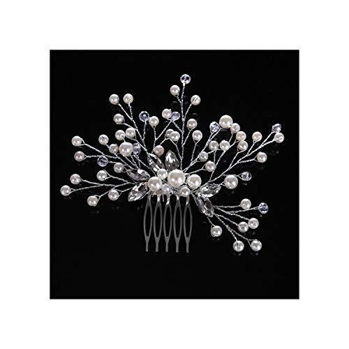 Handgemaakte Vrouwen Parel Haar Kammen Bruiloft Haaraccessoires Haar Pin Strass Tiara Bruids Clips TS001 Silver