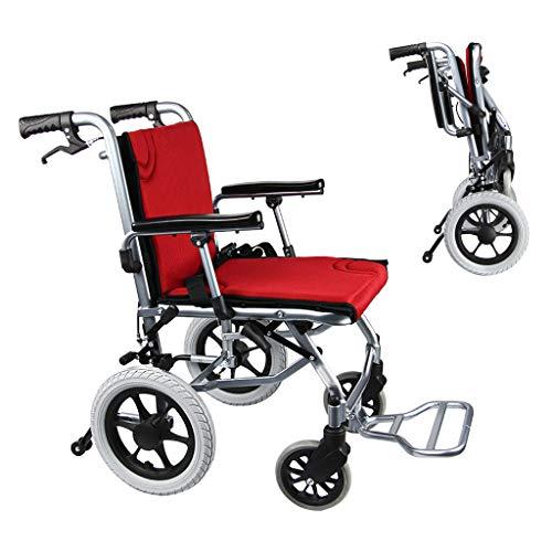 wheelchair Leichte Klapprollstühle, ultraleichter Rollstuhl mit Bremse, starker Transportrollstuhl mit umklappbaren Ottomanen und hochstellbaren Beinstützen, 100 kg Tragkraft
