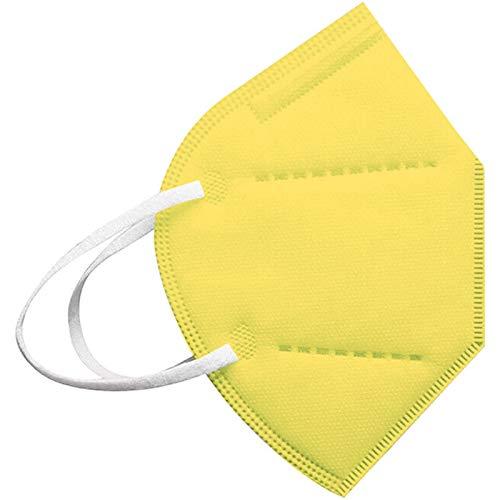 20-100PC Cinco Capas Tela para Adultos Proteccion Contaminacion Trabajo Ciclismo Gimnasio Colores Blanco Negro Rosa Azul Rojo Amarillo Morado Verde (20, Amarillo)