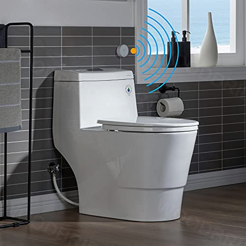 WOODBRIDGE B-0940-A Touchless, Dual Flush Elongated One Piece Toilet with Soft Closing Seat,Comfort Height,Water Sense,High-Efficiency,Rectangle Button, White