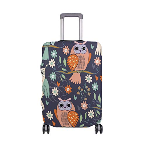Orediy Elastic Travel Luggage Cover Owl Sitting On Branches Print Trolley Case Suitcase Protector(Without Suitcase) S M L XL Size