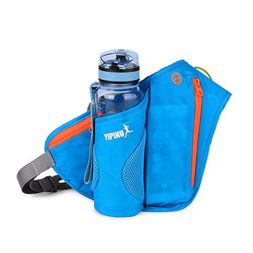 FANDARE Bauchtasche für Trinkflasche Gürteltasche Brusttasche Unisex Sport Trinkgürtel Sling Bag für Joggen Fahrradfahren Reise Laufen Trinkgürtel Hüfttasche Damen Herren Wasserdicht Nylon Blau