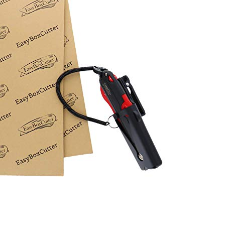 Modern Box Cutter, Extra Tape Cutter at Back, Dual Side Edge Guide, 3 Blade Depth Setting, 2 Blades and Holster - Red Color 2000