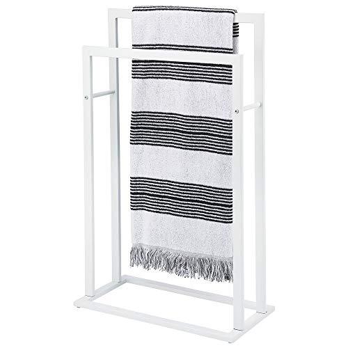 mDesign Tall Modern Metal Freestanding Towel Rack Holder - 2 Tier Organizer for Bathroom Storage and Organization Next to Tub or Shower, Holds Bath & Hand Towels, Washcloths - Matte White