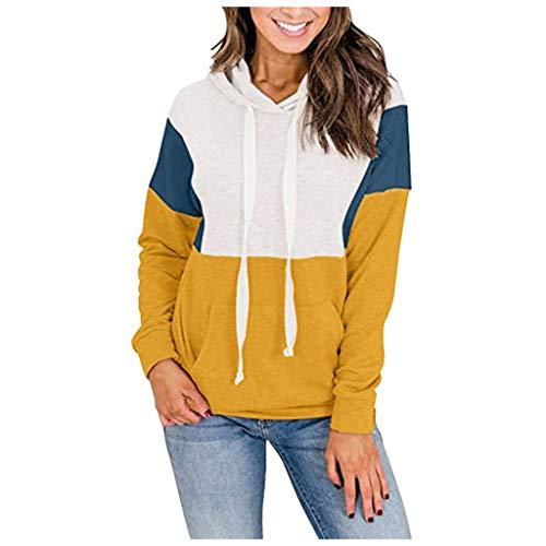 Andouy Damen Hooded Hoodies Modisch Farbe Patchwork Kapuzenpullover Langarm Oberteile Sweatershirt(S.Gelb)