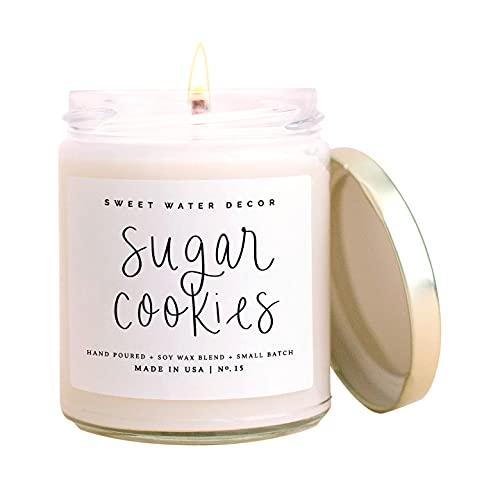 Sweet Water Decor Sugar Cookies Candle | Buttercream Frosting and Vanilla Winter Holiday Scented Soy Candles for Home | 9oz Clear Glass Jar, 40 Hour Burn Time, Made in the USA