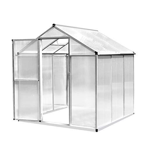 Outsunny Invernadero de Jardín Policarbonato Transparente Aluminio Caseta para Plantas y Cultivos con Puerta y Ventana Techo Inclinado con Canales 182x190x195cm