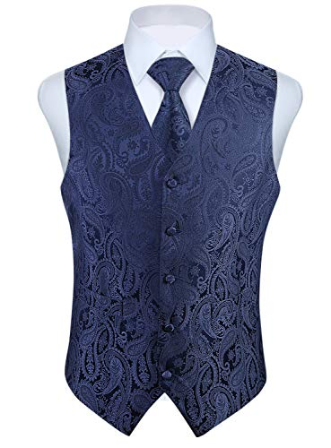 HISDERN Hommes Paisley Wedding Party Gilet Cravate Poche Carre Mouchoir Jacquard Gilet Costume Ensemble Ruban Bleu Marine