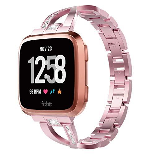 TiMOVO Correa para Fitbit Versa/Versa Lite/Versa 2, Pulsera de Aleación de Metal con Incrustaciones de Diamantes Ajustable Respirable para Fitbit Versa/Versa Lite/Versa 2 - Rosa Rosa