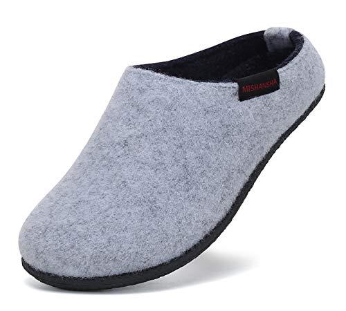Mishansha Fieltro Invierno Pantuflas Niño Zapatillas de Estar por casa para Niña Zapatos de Casa Interior Gris 35 EU