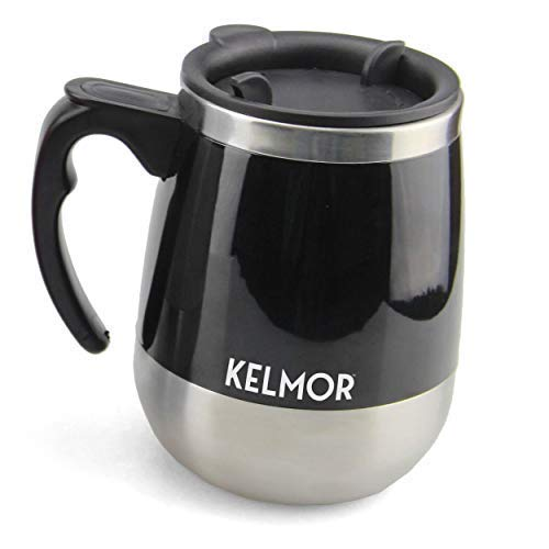 Kelmor Self Stirring Mug - Push-button, Battery Operated Mixing Cup for Coffee, Bulletproof/Keto coffee/Tea/Hot Chocolate/Protein Shakes for Home, Office, Kitchen - 15.2 Ounce (Black)