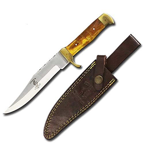 Bone Collector 10.25' Full Tang Hunting Knife Sharp Stainless Yellow Bone Hand Made