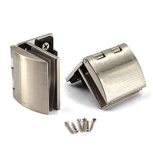 Kit de bisagra de pivote de puerta de cristal de 90 grados, bisagra de ducha de aleación de zinc, clip de abrazadera de puerta de cristal, 2 piezas con tornillos, vidrio adaptable de 5 a 8 mm