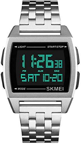 JSL Rectangular hombres s correa de acero reloj de los hombres de negocios s reloj electrónico multifunción hombres s reloj de plata