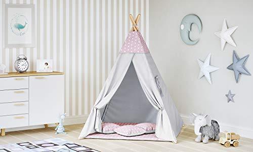 MALATEC Tipi Zelt für Kinder Spielzelt Indianer Baumwolle 3 Kissen Kinderzelt drinnen draußen 8702 , Farbe:Rosa- Sterne