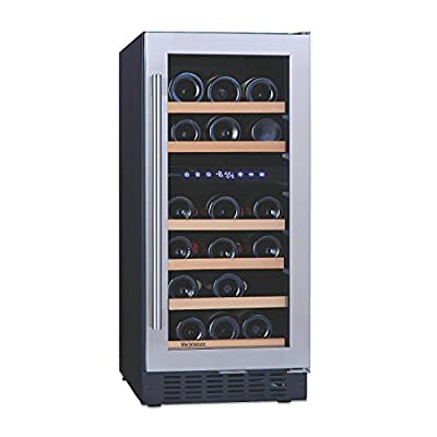 """N'FINITY PRO SD by Wine Enthusiast – 26 Bottle Dual Zone Built-In/Free-Standing 15"""" Wine Cooler, Stainless Steel"""
