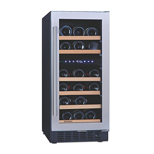 N'FINITY PRO SD by Wine Enthusiast – 26 Bottle Dual Zone Built-In or Free-Standing 15 Inch Wine Cooler, Stainless Steel