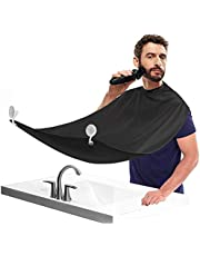 Beard Shaving Bib for Men Mustache Care & Hair Catcher, Professional Hair Clippings Catcher, Waterproof Grooming Cape Apron, Non-Stick Beard Trimming Bib with 2 Suction Cups, Black