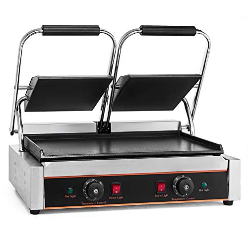 Summile LD-813E Sandwich panini press grill 3600W gastro grillplatte elektrisch Edelstahl Commercial Gastronomy Grill Griddles contact grill tefal mit einstellbarer Temperatur (LD-813E)