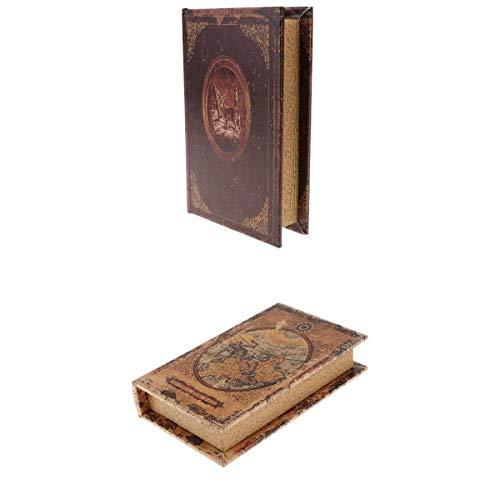 Fenteer 2pcs Retro Buchattrappe Buchschatulle Schmucketui Holzkasten Buchbox Schatulle Box
