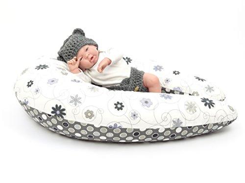 XXL Baby Stillkissen, Seitenschläferkissen, 210 cm, Lagerungskissen, 100 % Baumwolle, bei 40 °C waschbarer Bezug mit Reißverschluss (Farbe grau mit Blumen)