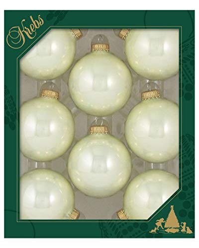 """Christmas by Krebs Made in The USA Designer Seamless Glass Christmas Ball Ornaments, 2 5/8"""" (67mm), Pearl Shine Ivory, 8 Pieces"""