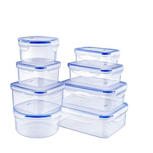 Deik Boîte alimentaire, Set de boîte de conservation alimentaire, Conteneur alimentaire plastique avec couvercles hermétiques lot de 8, Compatible avec lave-vaisselle, Congélateur