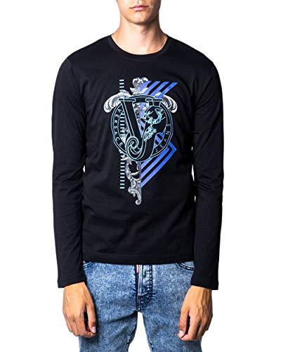 Versace Jeans Langarm-T-Shirt für Herren, Logo vorne, b3gsa73i, Schwarz XL
