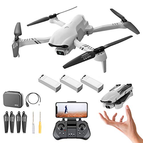 Mini Drohne mit Kamera HD F10, 6K Pro 120° Weitwinkel Faltbar Dual Camera RC Quadcopter mit GPS, 2.4G WIFI FPV Echtzeitübertragung/ Headless Modus/ Höhenhalt/ Streckenflug/ Wegpunktflug, Weiß