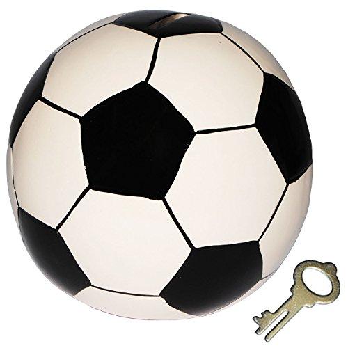 alles-meine.de GmbH XL Spardose  Fußball / Ball  - stabile Sparbüchse mit Schlüssel - aus Porzellan / Keramik - Sparschwein lustig witzig - Bälle - Sport / Verein - Fussballer ..