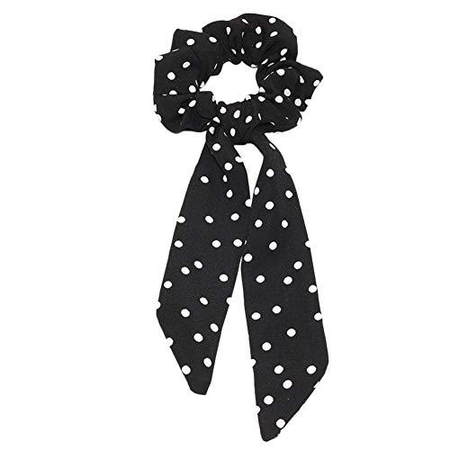 Qinlee Chouchous Cheveux Bowknot Bandes Élastiques Foulards Queue de Cheval à Cheveux pour Décorations Accessoires de Cheveux Femmes Petit Point Noir