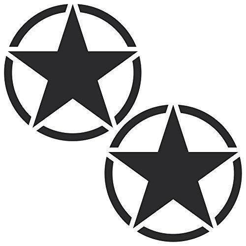GreenIT 2 Stück Sterne 10cm matt schwarz USA Army MP Auto Jeep Tuning Aufkleber Tattoo die Cut Deko Folie