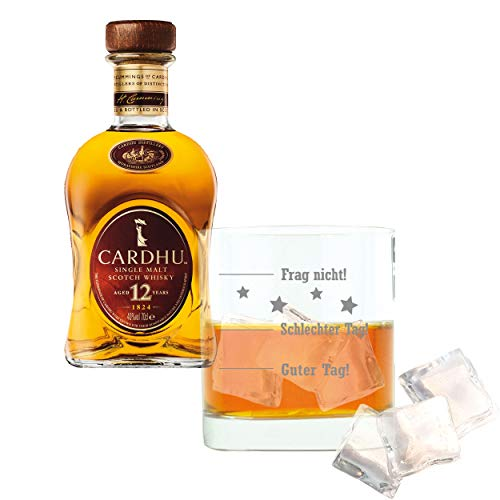 Whiskey 2er Set, Cardhu 12 Years / Jahre, Single Malt, Whisky, Scotch, Alkohol, Alokoholgetränk, Flasche, 40%, 700 ml, 715237, Geschenk zum Vatertag, mit graviertem Glas