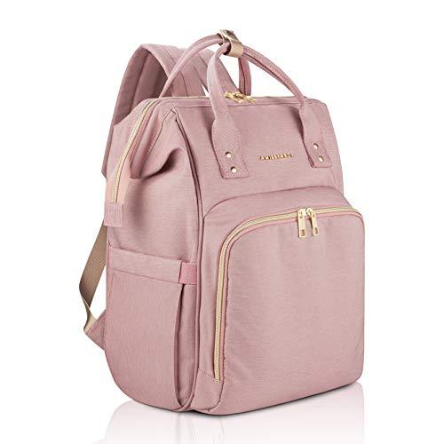 AMILLIARDI Diaper Bag Backpack - 6 INSULATED Bottle Holders - Detachable Stroller Straps (Light Pink)