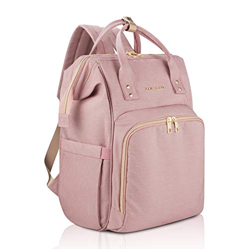 Diaper Bag Backpack - 6 Insulated Bottle Holders - Detachable Stroller Straps (Light Pink)