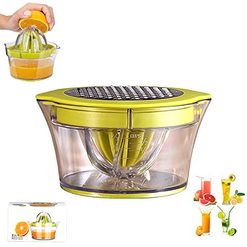 Exprimidor De Jugo De Naranja Limón, Exprimidor De Frutas Profesional Multifuncional Manual 4 En 1, Cinturón De Plástico Contenedor De 400 Ml y Colador