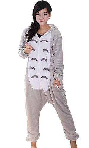 schlafanzug herren winter langarm Totoro Stil einteiler flanell Onesie Pyjama,XL