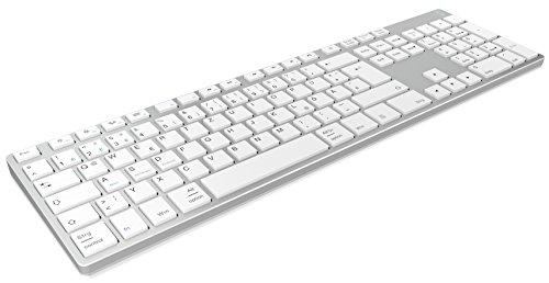 Keysonic Wireless Bluetooth Tastatur aus Aluminium für Mac, Windows, Android, Tablet und PC, Akku, Multi-Channel, Silber/Weiß