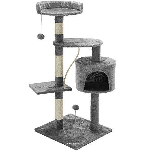 Deuba CADOCA® Katzenbaum 112 cm I 3 Aussichtplattformen 1 Katzenhöhle 2 Spielbälle 1 Spielseil I Kratzbaum Katzenkratzbaum Kletterbaum Spielbaum Katzen Baum I - Braun-Beige -