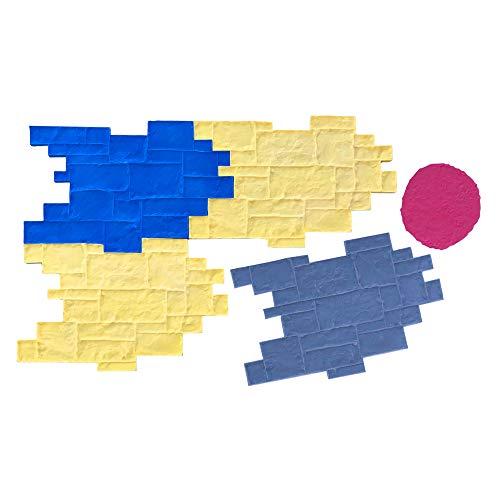Medievil Cobble Concrete Stamp Set by Walttools | Decorative Random Cobblestone Pattern, Sturdy Polyurethane Texturing Mats, Realistic Detail (5 piece)