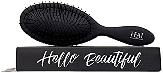 HAI DETANGLER - Premium Smoothing Paddle Brush for Wet or Dry Hair - Midnight Black