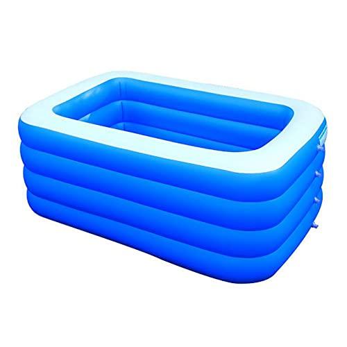 Piscina Hinchable, Rectangular Piscina Inflable Familiar, para niños, para jardín al Aire Libre, hogar,Blue_150x105x50cm