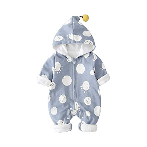 DorkasDE Baby Strampler Neugeborene Kleinkinder Strampleranzug Overall Cartoon Jumpsuit Frühling Herbst Babykleidung mit Kapuze (Größe 66 (Höhe 50-55cm), Blau)