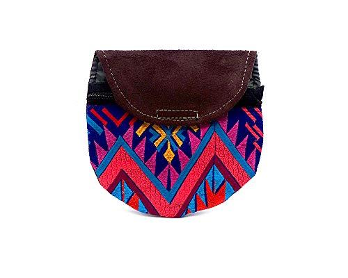 Mini Round Multicolored Tribal Embroidered Vegan Leather Suede Slim Purse Crossbody Bag - Womens Handmade Boho Accessories (Blue)