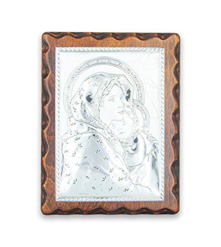 La Balestra Madonna con Bambino - Quadro Argentato - Icona Sacra - su Pannello in Legno Naturale - Prodotto in Umbria Italy (19X14.5 cm)